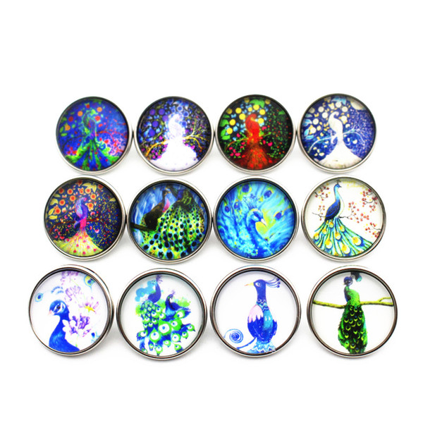 20pcs/lot 18mm fruits pig peacock Glass Snap Buttons Charms Fit Snap Bracelet Necklace DIY Jewelry E mail treasure