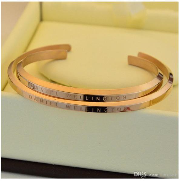 Neue DW Armbänder Manschette Rose Gold Silber Armreif 100% Edelstahl Armband Frauen und Männer Armband Pulsera