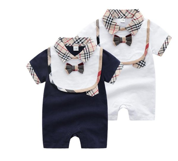 Retail Summer Cotton Short Sleeved Jumpsuit For Newborn Romper Character Baby Boy Clothes and Baby Girl Clothes Rompers + bib set