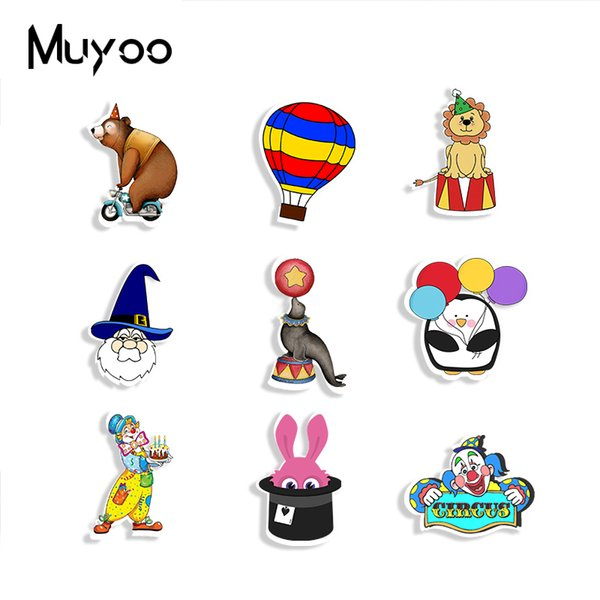New Circus Balloons With Clown Acrylic Brooch Bear Sea Lion Mask Brooches Pin Epoxy Bag Clothing Accessories