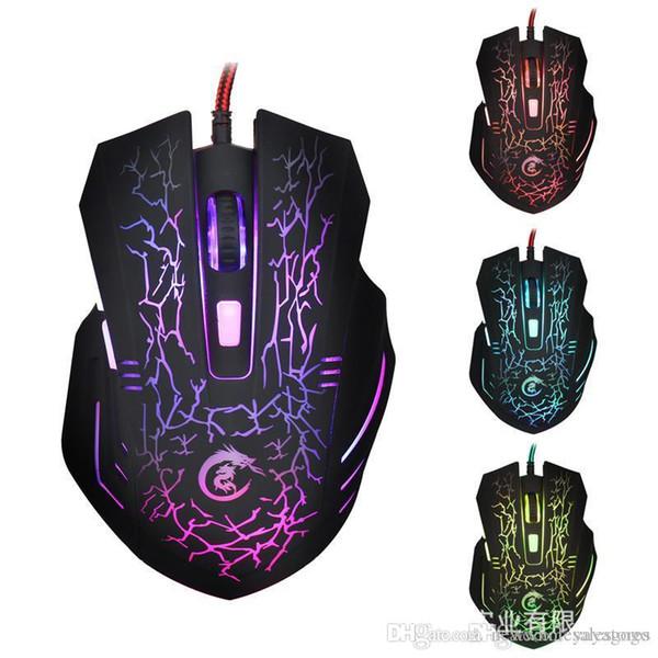 UK UK0001 Vendita al dettaglio A904 Mouse da gioco retroilluminato a LED Mouse cablato USB regolabile 5500 DPI 6 pulsanti mouse ottico per PC laptop LOL DOTA Game # 394