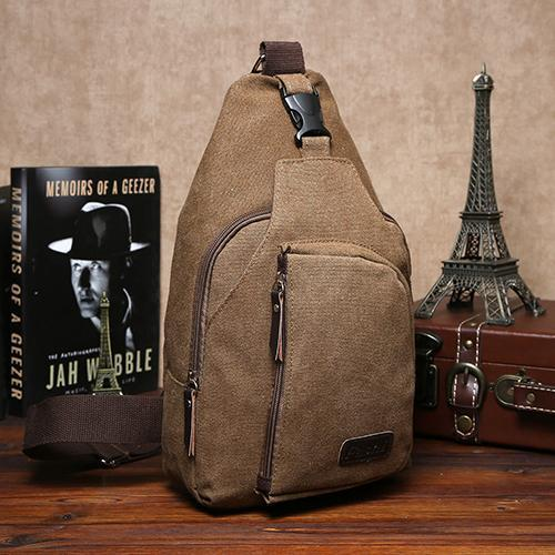 Wholesale-2015 Men Small Canvas Sling Messenger Casual Shoulder Bag Chest Pack Crossbody Bags 6O23Men\`s Small Canvas Sling