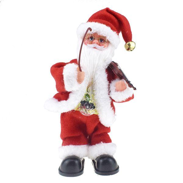 Novidade criativa Belly Belt Lamp Pull Violin balanço boneca de Santa com presentes de Natal Toy Electric Music