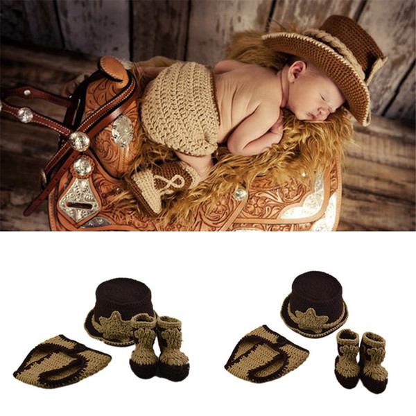 Baby Photography Props Boy Cowboy Photo Photography Props Knitted Infant Cartoon Costume Stylish Western Cowboy Hat Booties Set