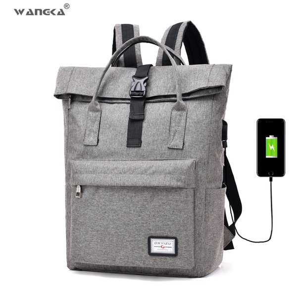 Wangka 2019 Hot Sale Canvas Backpack Women School Bags For Girls Large Capacity Usb Charge Men Laptop Backpack Y19061004