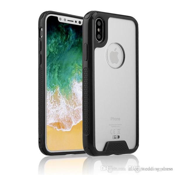 Telefon Kılıfı için Iphone 7 8 Artı X XS MAX Samsung Galaxy S9 S8 TPU Darbeye Kapak Şeffaf Clear Hibrid Telefon Kılıfı TPU Tampon