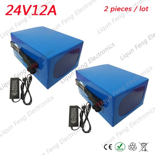 Wholesale 2pcs/Lots 24V 12AH 350W Ebike Battery Lithium Bicycle Battery With 29.4V 2A Charger 20A BMS 24V Battery Pack