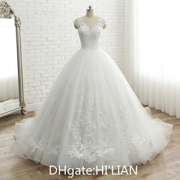 Married vestido de noiva Women's Cap Sleeve Vintage Lace Bridal Dress Custom Made Princess Lace Wedding Dress appliques Formal Occasion