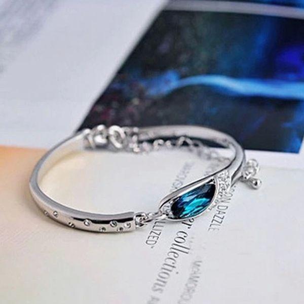 Pulsera cristalina de la boda de lujo con las piedras para pulseras de plata de las mujeres de los brazaletes turcos azul brazalete de joyería regalos para niñas