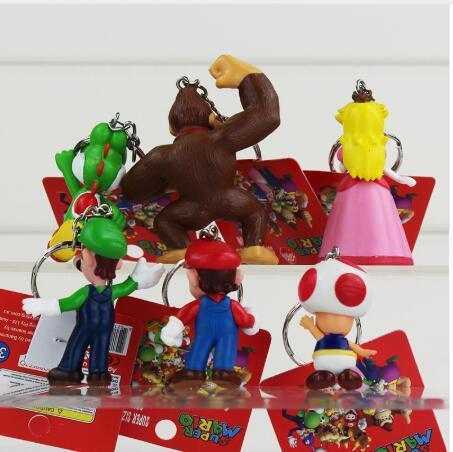 6pcs/lot Classic Super Mario Bros Figure With Keychain Mario Luigi Yoshi Peach Goomba King Kong PVC Action Toys