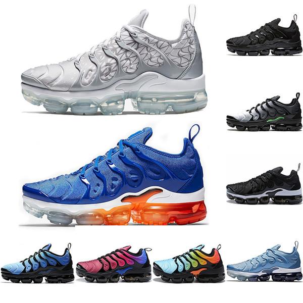 Nike Air Vapormax Plus 2019 TN Plus Hommes Femmes Chaussures De Course MOTIFS D'ARGENT Triple Noir Blanc Multi Couleur Hyper Bleu Baskets De Designer Sport Sneaker Taille 36-45