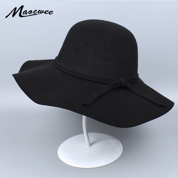 Women's Fedoras Round Caps Hats Top Imitation Wool Felt Hat Fedora Man's Wide Brim Hat Sombrero Cowboy Vaquero Party Hats