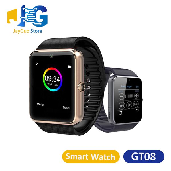 top popular GT08 Smart Watch Bluetooth Smartwatches Wrist Wear For Android IOS Support SIM TF Card DZ09 V8 with Retail Box 2020