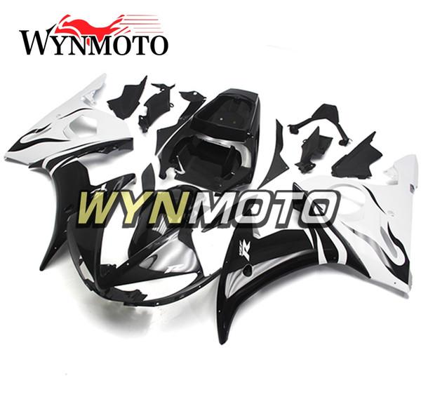 Carénages De Moto De Style Blanc Noir Pour Yamaha YZF 600 R6 2003 2004 ABS En Plastique Injection Kits moto couvercles