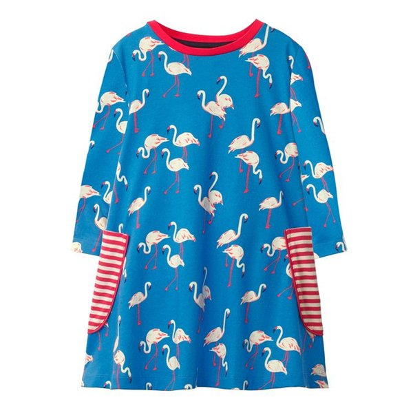 Pocket Striped Floral Animal Kids Girls Dress Children Girls Infant Spring Cotton Baby Girls Dress Designer Unicorn Children Outfits