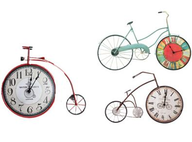 Vintage Iron Bicycle Shape Wall Clock Antique Style Wall Clocks Creative Bike Clock Home Living Room Decor
