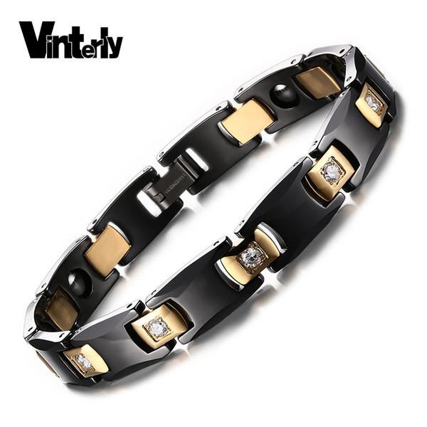 Vinterly Black Ceramic Bracelet For Women Chain Link Healing Energy Magnetic Hematite Crystals Gold-color Bracelets & Bangles Y19051002