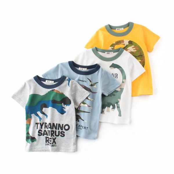 INS Free DHL Cartoon Shark Dinosaur Crane Niños Niños ropa camisetas Tee manga corta 100% algodón Venta al por mayor barata 2019 Verano 1-10Y