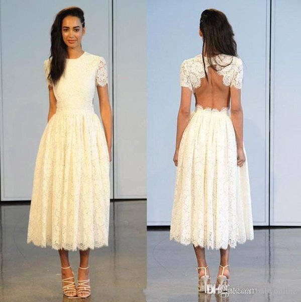 2018 Tea Length Lace Wedding Dresses Crew Neck Short Sleeves Sexy Summer Beach Backless Short Bridal Gowns Simple Party Gowns
