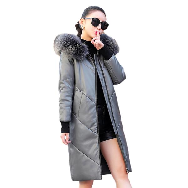 2019 Nueva Chaqueta de piel de oveja Mujeres Moda Cuero Abajo Abrigo Medio Largo Talla grande Chaqueta con capucha de invierno abrigo de alta calidad FC69