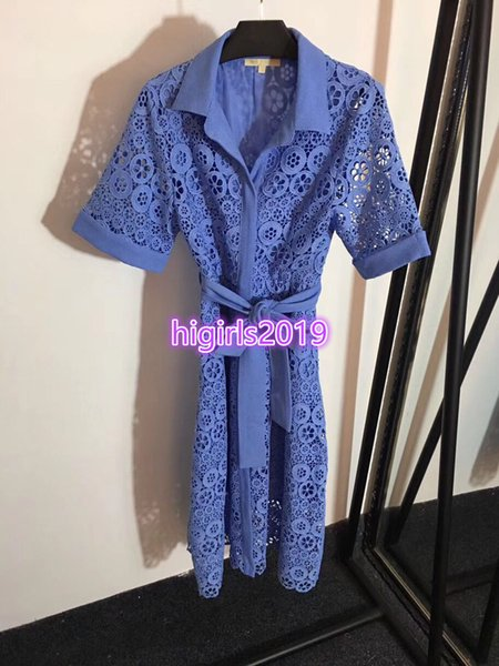 High end women girls lace hollow out midi dress with sashes lapel neck high waisted short sleeve vintage shirt skirt summer runway dress