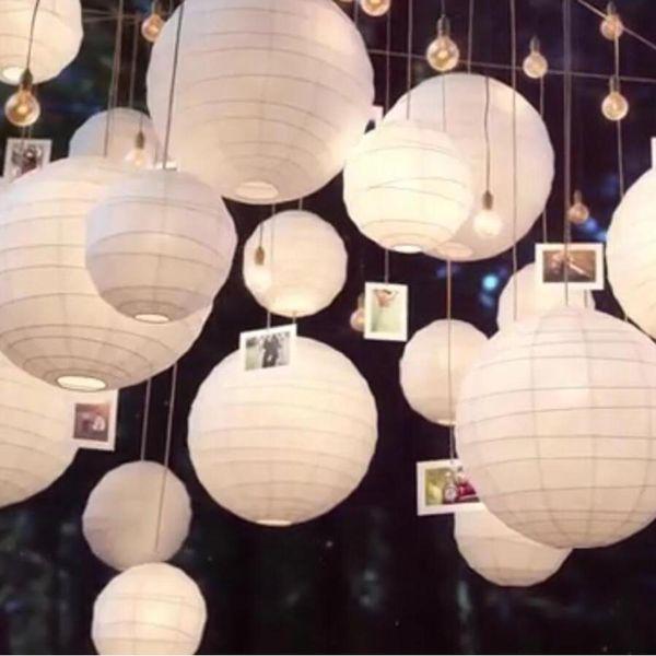 30 pz / lotto Mix Size (20 cm, 30 cm, 35 cm, 40 cm) Lanterne di carta bianca Palla di carta cinese Lampion per la decorazione della festa nuziale
