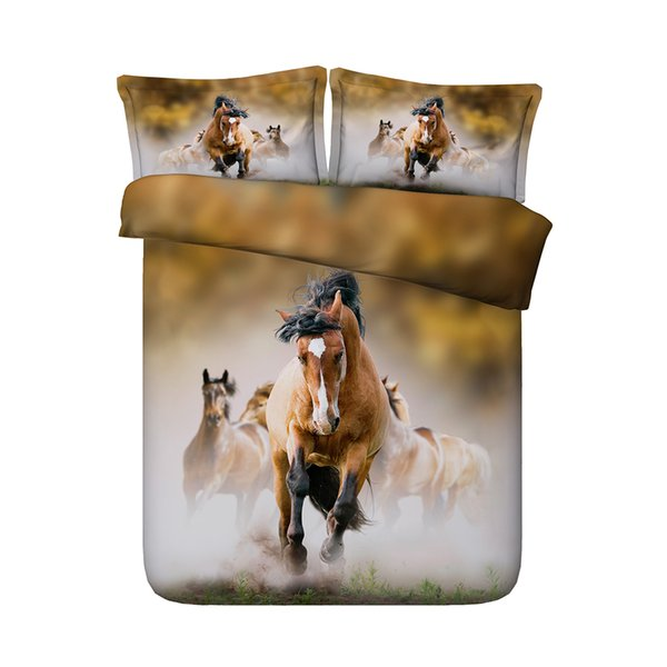 Quilt Comforter Cover For Kids Teen Girls Boys 1 Animal Duvet Cover 2 Pillow Shams No Comforter 3D Galloping Horses