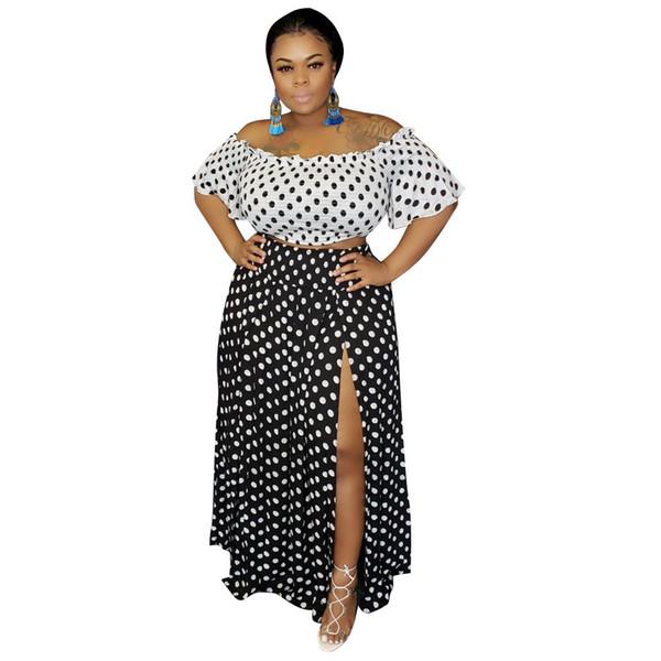 Women Two Piece Set Plus Size Crop Top And High Split Long Skirt Sets Suits 2 Pieces Polka Dot Summer Clothes L-4XL