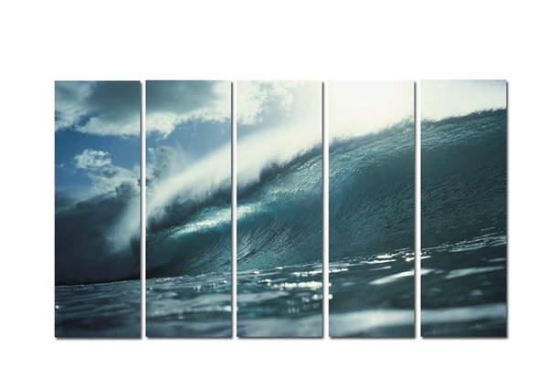 Large 5 Panel Modern Beach Canvas Print Surf Ocean Wave Seascape Painting Art Wall Home Decor Picture Contemporary For Living Room ASet146
