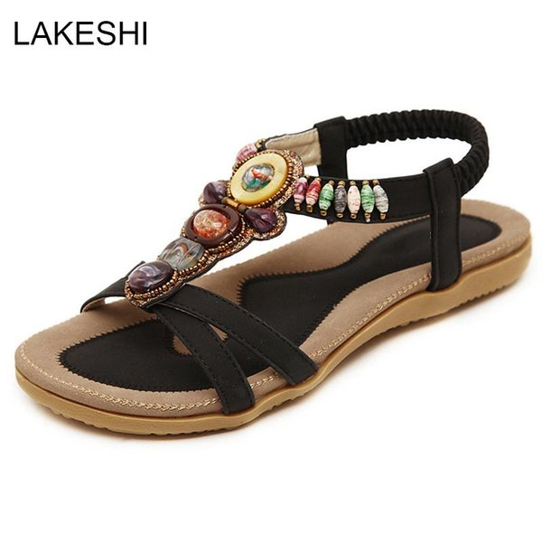 Compre 2019 Sandalias De Mujer Zapatos De Verano Para Mujer Zapatos De Playa De Moda Sandalias Planas Comodidad Sandalias Femeninas Damas Más Tamaño 42 A 24 41 Del Lugudream Dhgate Com