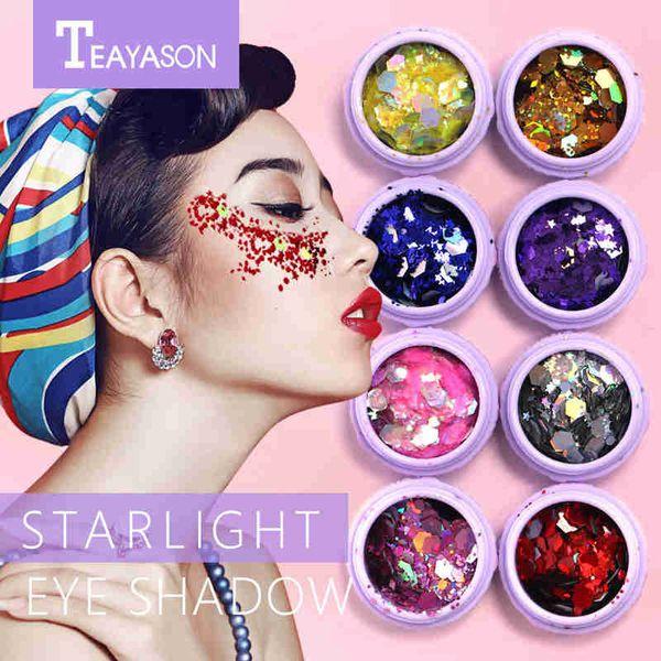 TEAYASON poudre de paillettes pour fard à paupières or argent ongles starlight imperméable longue tenue maquillage fête fard à paupières AM055