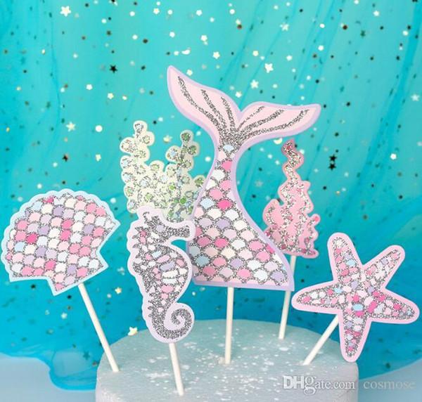 Cauda da sereia de coco do queque caçoa o Pequena Sereia aniversário Decoração Baby Shower Under The Cake Decor Mar