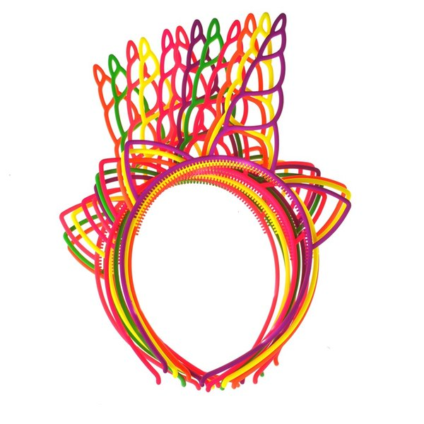 12pcs/lot Girls ABS Plastic Unicorn Hairbands Lovely Hair Hoop Unicorn Headband for Party Hair Accessories