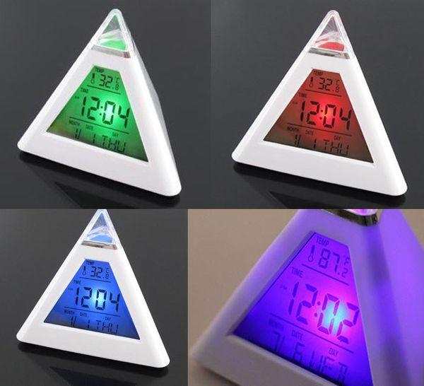 Pyramid Temperature 7 Colors LED Change Backlight LED Moon Alarm Clock Despertador Digital best selling 2018 products