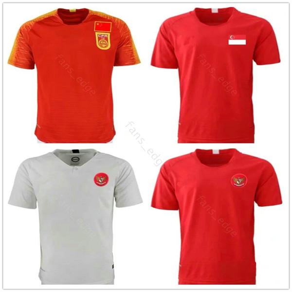 2019 2020 Milli Takım Endonezya Singapur Çin Futbol Forması Özel Herhangi Adı Herhangi Bir Numara 19 20 Ev Uzakta Kırmızı Beyaz Futbol Gömlek Üniforma