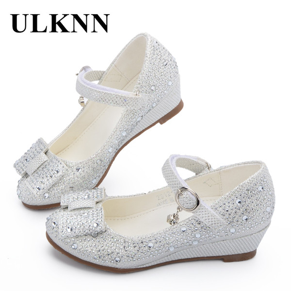 Ulknn Hot Sale Princess Shoes Children Wedge Shoes Girls Footwear Soft Breathable Female Sandals Party For Girls Kids 2018 Y19051303