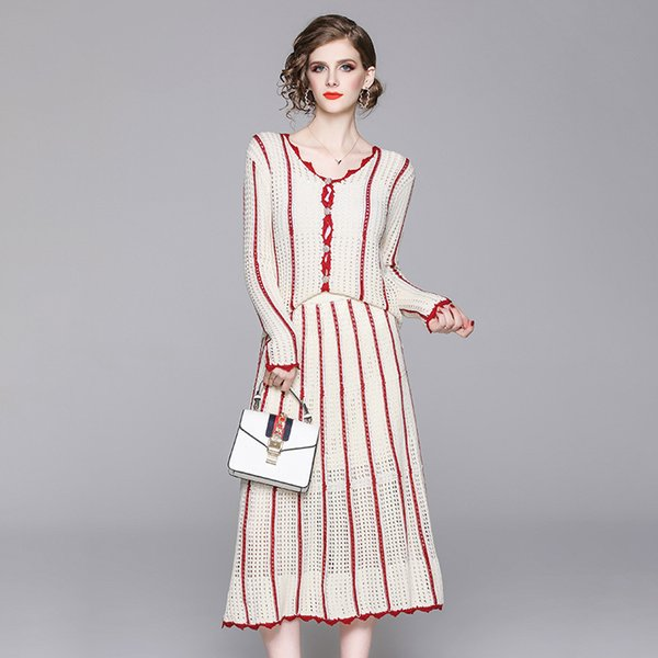 New 2019 Autumn Fashion Womens Hollow Out Knit Sweater Cardigan V-neck Striped + A-line Midi Skirts Suit Two Piece Set Outfits
