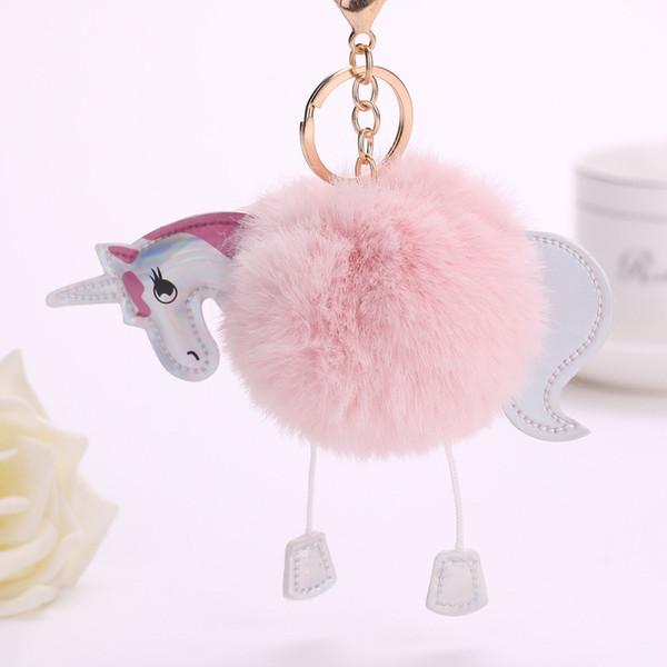 15cm Belle Fluffy Licorne poney Trousseau Pendentif filles Pompon mignon artificielle fourrure de lapin porte-clés Sac voiture Porte-clés Accrochez Accessoires Sac