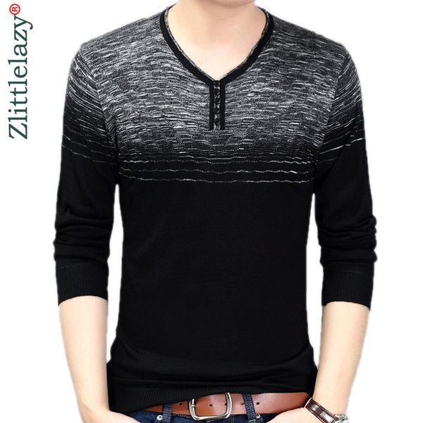 2019 Brand New Casual Social Striped Pullover Men Sweater Shirt Jersey Clothing Pull Sweaters Mens Fashion Male Knitwear 258 T2190612
