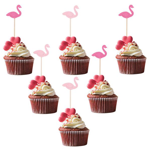 20 Pezzi Flamingo Cake Toppers Cupcake pick dessert Puntelli Tabella per i rifornimenti del partito di estate Tropical Beach Birthday Party Decor