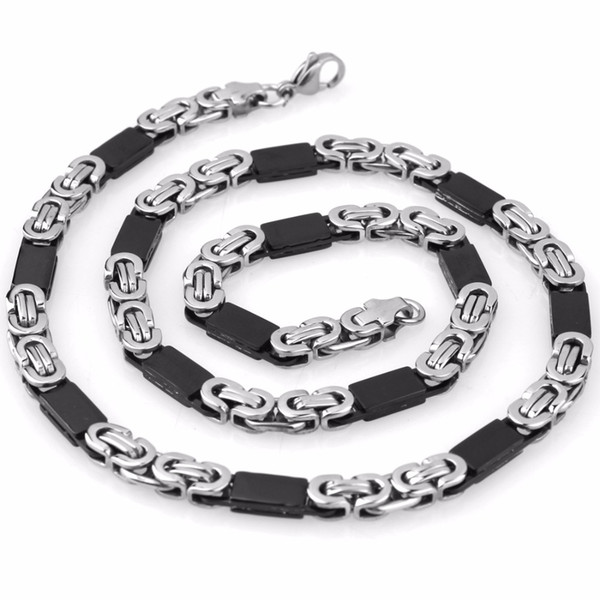 Top Quality Men Boy Jewelry Set Silver Black Stainless Steel Byzantine Chain Jewelry Sets Including Necklace And Bracelet