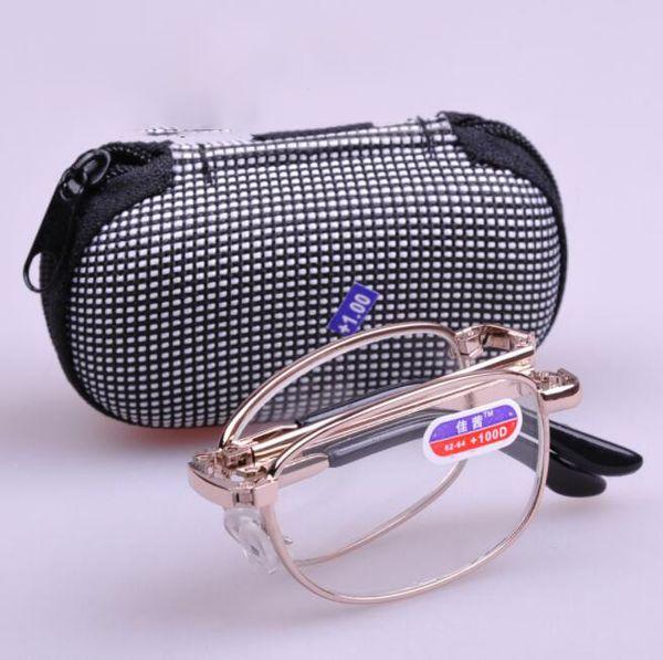 3e33f4e561 Plegable Plegable Gafas de Lectura Marco de Plata Hombres Mujeres  Conveniente Fácil Llevar Leer Gafas Con estuche KKA6437