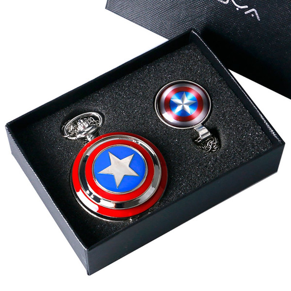 Captain American Star Pocket Watch Necklace Chains Fobs Shield Clock Pendant Vintage Quartz Pocket Watch Chrismas Gifts
