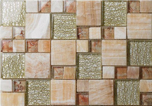 Yellow Stone Glass Mosaic Tile Kitchen Backsplash SGMT051 Bathroom Shower Wall Tile