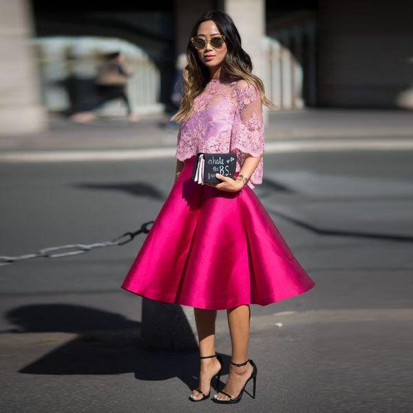 Выполненные на заказ 2 шт сиреневый топ фуксия юбка вечерние платья прозрачные рукава декольте халат де вечер 2019 шикарный вечер