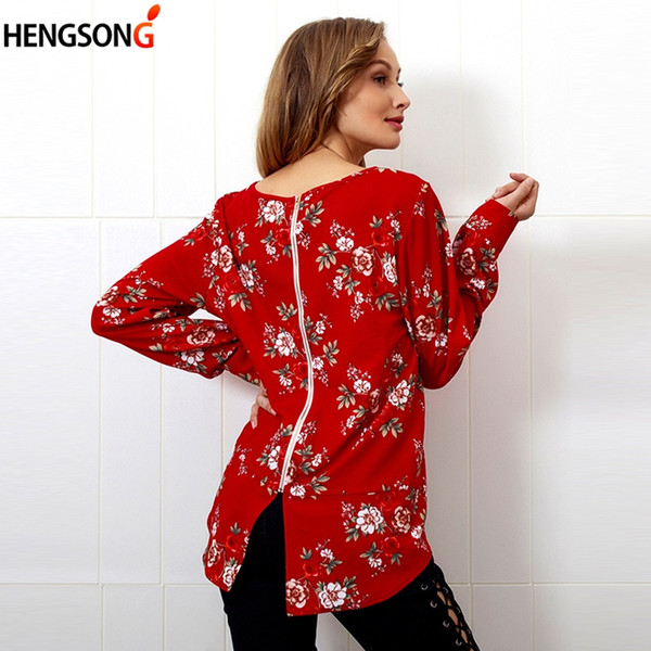 Floral Print Women's T-shirts O-neck Full Sleeve Tops Boho Back Zipper Casual Ladies T-shirt Office Lady Tops