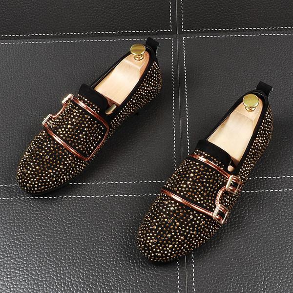 Diseñador de lujo de los hombres de diamantes de imitación de la hebilla de los zapatos del encanto del vestido de boda de noche Oxford zapatos formales hombres Sapato Social Masculino