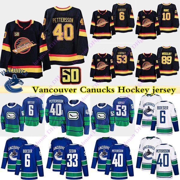 top popular Vancouver Canucks jerseys 40 Elias Pettersson 6 Brock Boeser 53 Bo Horvat 10 Pavel Bure 43 quinn hughes 33 Henrik Sedin hockey jersey 2020