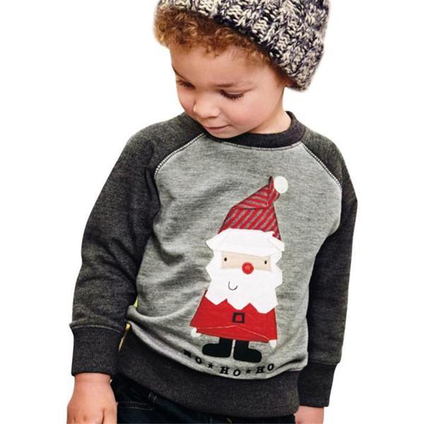 Christmas Baby T-shirts Santa claus Print Pullover Sweaters Kids xmas Sweatshirts hoodie winter warm Casual Raglan Boy Designer Clothes hot