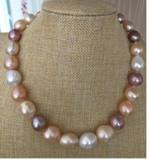 gorgeou natural 12-14mm south sea baroque lavender pink pearl necklace 18inch 925silver